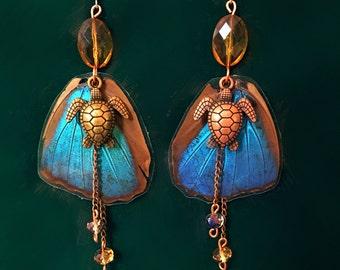Cruelty free Blue Morpho earrings - Yemaya