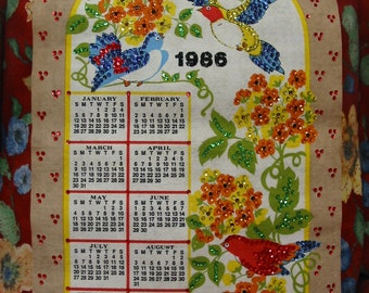 Bright And Colorful Sequins Sequined 1986 Wall Calendar So Pretty! 30 Year Old's Birthday Gift?