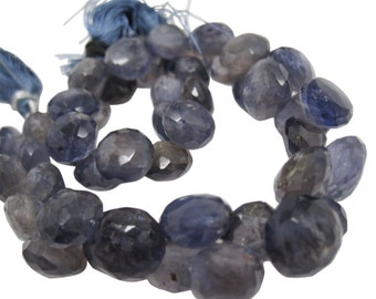 Iolite Beads Onion Briolettes, 9mm to 10mm, Faceted Onion Drops, SKU 4370A