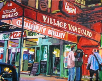 Music Lover. Jazz Lover Art. Jazz Club. Village Vanguard. Miles Davis. Thelonious Monk. Framed art NYC Art Print  Painting Gwen Meyerson