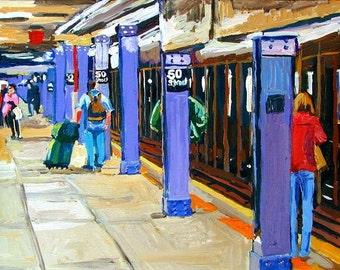 NY Subway New York Art 50th Street Station Wall Decor Fine Art Print  8x10, New York City blue purple Painting by Gwen Meyerson