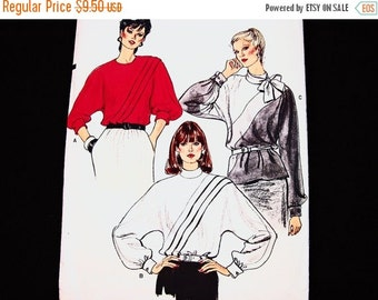 on SALE 1990s Womens Blouse Pattern Vogue Pattern size 12 Bust 34 UNCUT Womens Loose Long Sleeve Blouse, French Cuffs Vintage Sewing Pattern