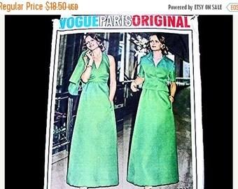 SALE 25% Off 1970s Halter Dress Pattern Vogue Paris Original Pattern Designer Givenchy Evening Dress, with Jacket size 10 Vintage Pattern