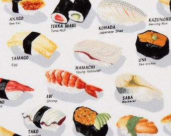 161245 funny white sushi fabric Robert Kaufman
