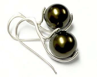 Olive martini pearl earrings, sterling silver earrings, olive green earrings, dark earrings, silver dangle earrings, pearl earrings