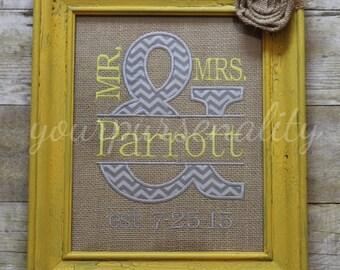 Mr and Mrs Ampersand burlap * wedding gift * wedding shower gift * framed wedding * bride and groom * burlap garden flag