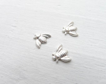 Tiny Bee Solderable Accents Sterling Silver Honey Bee Components for Jewelry Making (SBSS495)