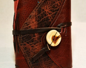 Small Array of Reds Leather Journal with Recycled Paper
