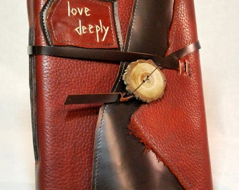 Love Deeply-Large Leather Journal with Recycled Paper