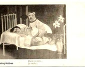 WOMAN bed sleeping, her DOG BODYGUARD watching - Vintage  french Art Deco Postcard - not written - good condition, very slight corners marks