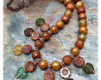 Masala Spice Agate , Czech Glass and Sterling Silver Autumn Necklace, Ready to Ship, Valentine, Birthday, Anniversary