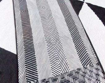 Vintage 1960s Vera Neumann brown white abstract Scarf/ 1970s striped designer scarf