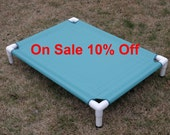 """Sale 10% Off Waterproof Dog Bed Aquamarine Canvas 32""""x44"""" Ready To Ship, Elevated Bed, Raised Outdoor Bed, Cat Bed, Dogs Up To 130 Pounds."""