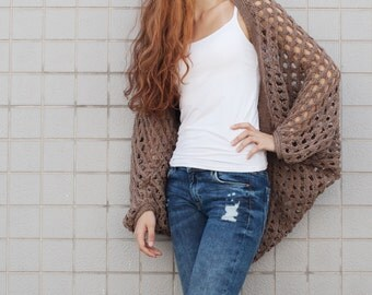 Hand Knit woman sweater Long cardigan camel sweater top open weave wool sweater
