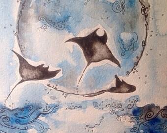 Flying Manta Rays, original watercolor painting 9x12