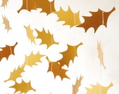 Gold Holly Garland, Party Decoration, Wedding Decor, Holly, Christmas Garland, Christmas Wedding, Holly Garland, Choose Your Length