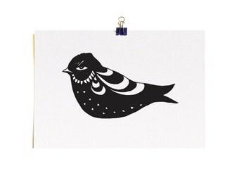 Little Fat Bird - A5 Recycled Art Print