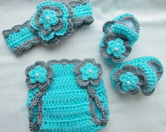 Baby Girl Crochet Headband Hairbow Booties Diaper Cover Baby Shower Gift Photo Prop 10027  MADE TO ORDER