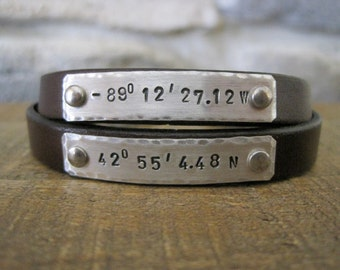 Custom Coordinates Couples Bracelets - Long Distance Love or Friendship Leather Bracelets