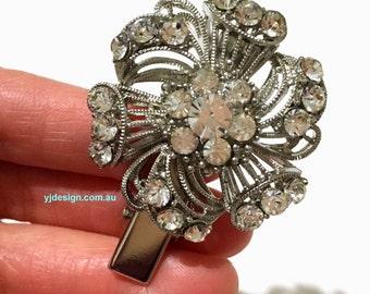 Crystal Bridal Hair Clip, Swarovski Wedding Barrette, Art Deco Bridal Hair Jewelry, Gatsby Wedding Headpiece, Bridesmaid Gift for Her SPIRAL