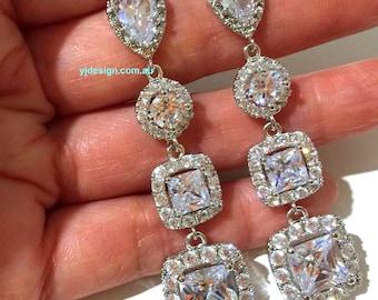 Square Bridal Earrings, Cz Wedding Earrings, Cubic Zirconia Bridal Jewelry, Princess Cut Earrings, Dangle Earrings, Gift for Her, DIAMANT