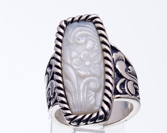 Relios Ring - Sterling Carved MOP - Carolyn Pollack  - sz 6