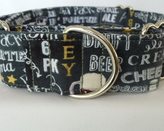 "1.5"" Gray Beerfest Greyhound Martingale Collar"