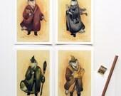 The Four Houses - Cat Postcards - 4 Piece Set