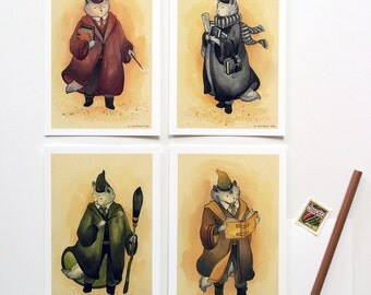 The Four Houses - Cat Witch and Wizard Postcards - 4 Piece Set