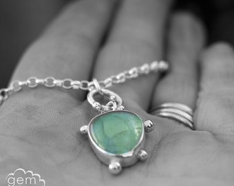 Little Prehnite and sterling silver pendant  - Off Shoot -