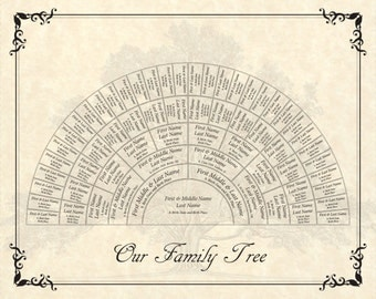 Custom Family Tree  16x20 6-Generation Fan Chart with Heritage Tree Parchment Background