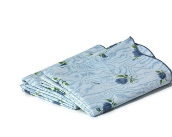 Vintage Pair Pillowcases Blue Roses, Set of Pillowcases, Retro Bedding, Retro Pillowcases, Blue Rose Bedding, Floral Pillowcases, Shabby