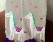 Embellished UNICORN Organic Cotton BABY GIRL Leg Warmers Newborn - 5T