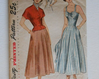 Vintage 40s Sundress and Jacket Pattern Simplicity 2880 Size 18 Bust 36