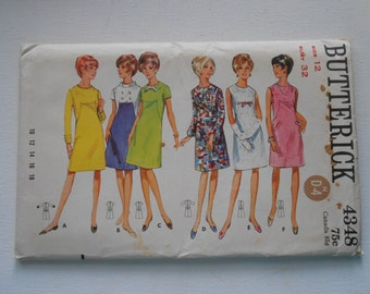 Vintage 60s Day or Evening A Line Dress Pattern Butterick 4348 Size 12 Bust 32 UNCUT