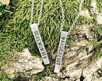 Modern Stamped Bar Necklace - Wanderlust, Serendipity, you choose