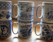 Spood England Blue Room Collection, Set of Six Coffee Mugs, Mugs, Greek, Geranium, Italian Sporting, Aerobes Fable, Blue Rose, Gothic Castle