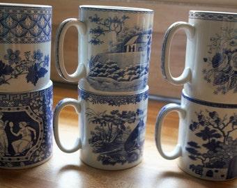 Spood England Blue Room Collection, Set of Six Coffee Mugs, Mugs, Greek, Geranium, Italian Sporting, Aerobes Fable, Blue Rose, Gothic Castle