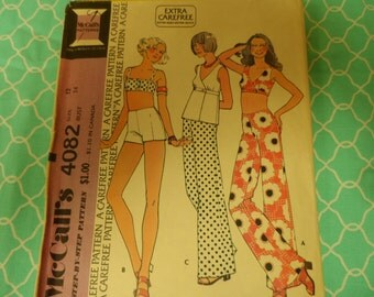 "McCalls 4082 Misses' and Junior Petite Halter Tops and Pants Size 12 Bust 34"" Vintage"
