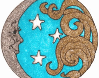 Sparkle Sun And Stars Faux Stained Glass Window Cling