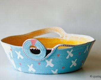 Fabric scuplture, rope scuplting, Coild Baskets, Knitting Basket, thread bowl, home decor, cottage decor, baskets, criss cross, yellow, blue