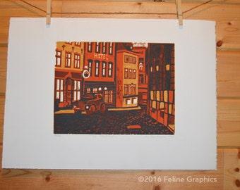 Old Stockholm Linocut Print