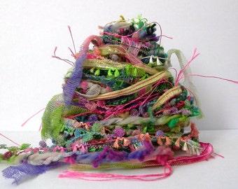 corsage fiber effects™ 12yds specialty ribbon textile embellishments art yarn fiber bundle . green pink purple novelty yarn pack