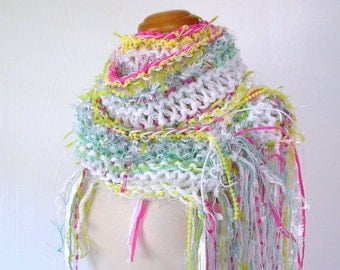 highlighter. chunky knit scarf . handknit vegan friendly scarf . warm winter scarf . hot pink neon yellow white aqua bright color scarf