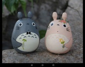Cutomize 2 Totoro Dolls pink and gray Studio Ghibli toy  Figurine  (Size L 4 6)