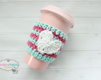 Valentine's Day, Crochet Heart Striped Cup cozy, Aqua, white hot pink, Coffee cozies, coffee sleeve, tea ceramic plastic cups, planner