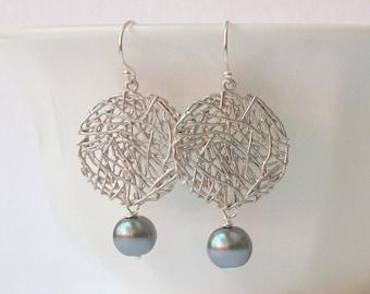 LAST ONE Grey Mesh  Pearl Dangle  Earrings