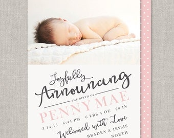 Baby Girl Birth Announcement - Penny