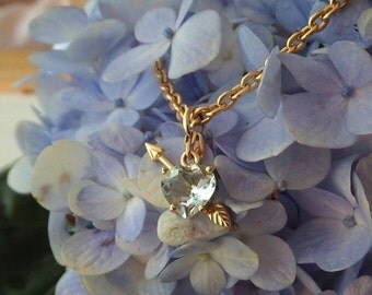 Summer Sale Aquamarine Heart And Golden Arrow Pendant, Handforged in 18k Yellow Gold, Ready to Ship
