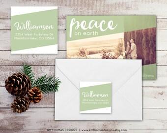 Printable Return Address Label: Square Label - Holiday Return Address Label - Green Christmas Label - Return Address Sticker - WH211